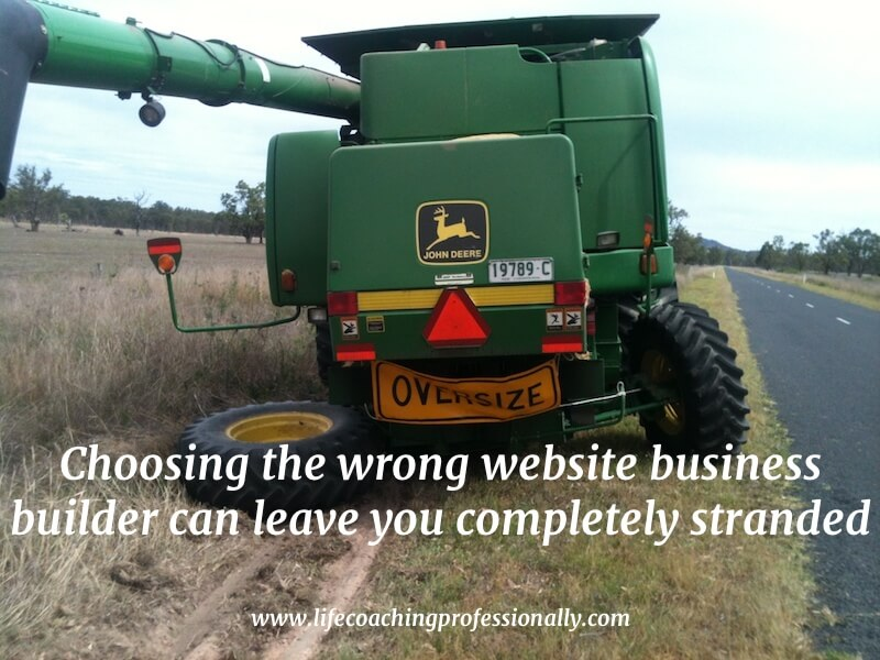 Harvester broken down on the side of the road signifying how the wrong online platform can wreck your business.