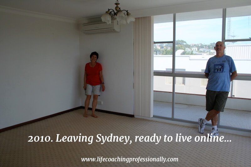 Paul and Wendy in their empty lounge, ready to travel